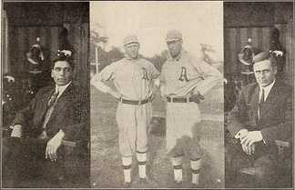 The four stars of the world champion Philadelphia Athletics — Chief Bender, Cy Morgan, Jack Coombs and Rube Oldring — were featured in the Thanhouser Company film, The Baseball Bug (1911)[1]