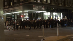 Policemen surround protesters at East 19th Street in New York City.
