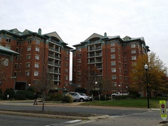Apartment buildings near the Braddock Road Station of the Washington Metro