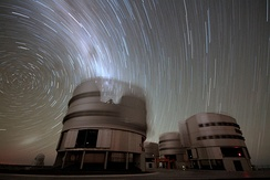 In this 45-minute exposure taken on a dark clear night at Paranal Observatory, the stars leave trails as they appear to revolve around the south celestial pole (left), due to Earth's rotation.