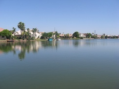 A waterfront in the Val Vista Lakes community in Gilbert