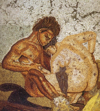 Satyr and nymph, mythological symbols of sexuality on a mosaic from a bedroom in Pompeii