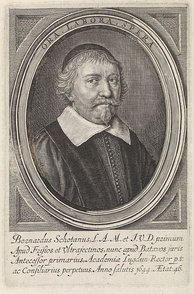 Bernardus Schotanus, the university's first rector magnificus, and professor of law and mathematics.