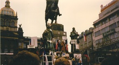 Protests beneath the monument in Wenceslas Square, in Prague