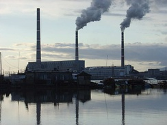 A coal-fired power plant in Luchegorsk, Russia. A carbon tax would tax the CO2 emitted from the power station.