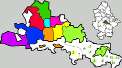 Raions of Donetsk on the territory of the Donetsk City Municipality:     Budyonny Raion  Voroshilov Raion  Kalinin Raion  Kiev Raion  Kirov Raion    Kuibyshev Raion  Lenin Raion  Petrovsky Raion  Proletarian Raion