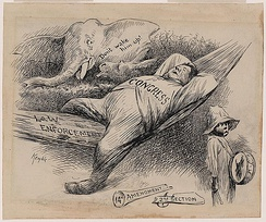 This drawing by E. W. Kemble shows a sleeping Congress with a broken 14th Amendment. It makes the case that Congress ignored its constitutional obligations to Black Americans.