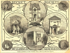 """Secret Society Buildings at Yale College"", by Alice Donlevy[4] ca. 1880. Pictured are: Psi Upsilon Left center: Skull & Bones (Russell Trust Association). Right center: Delta Kappa Epsilon. Bottom: Scroll and Key (Kingsley Trust Association)"