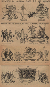 Composite of Sensation in Langham Place: The BBC Arrives, a four-part cartoon by Arthur Watts, from the 1931 Christmas edition of the Radio Times