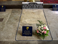 Shakespeare's grave, next to those of Anne Shakespeare, his wife, and Thomas Nash, the husband of his granddaughter