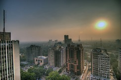 Dense smog blankets Connaught Place, New Delhi.