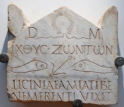 This funerary stele from the 3rd century is among the earliest Christian inscriptions, written in both Greek and Latin: the abbreviation D.M. at the top refers to the Di Manes, the traditional Roman spirits of the dead, but accompanies Christian fish symbolism.