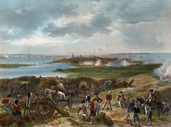 A birds-eye view over the British lines of artillery besieging the port of Charleston in the center-background, and landing some shots at the docks.