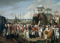 General Lord Cornwallis, receiving two of Tipu Sultan's sons as hostages in the year 1793