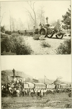 A 110 horse power Traction Engine hauling timber in the Sierra Nevada Mountains. 2. Traction engine hauling war material for the Nicarauguan government.
