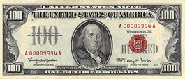 Front of a Series 1966 $100 United States note.