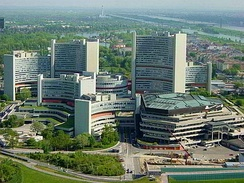 UN complex in Vienna, with the Austria Center Vienna in front, taken from the Danube Tower in the nearby Donaupark before the extensive building work