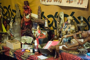 Example of Louisiana Voodoo altar inside a temple in New Orleans.