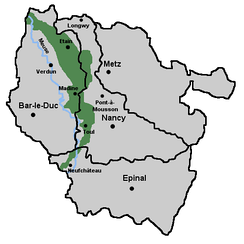 The Woëvre region of Lorraine (in green)