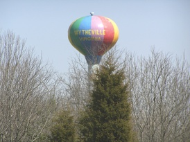 Wytheville's hot air balloon-themed water tower, inspired by the town's yearly Chautauqua Festival balloon launches, can be seen by I-81 travellers near the I-77 interchange.