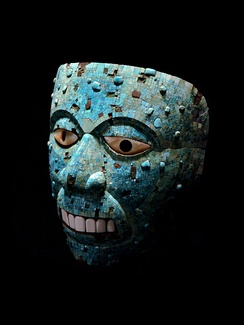 Turquoise mosaic mask of Xiuhtecuhtli, the Aztec god of fire.