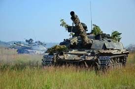 Ukrainian Army T-64BM during a training.