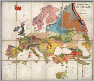 1875 geological map of Europe, compiled by the Belgian geologist André Dumont. Colors indicate the distribution of different rock types across the continent, as they were known then.