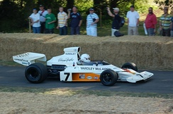Hulme's 1973 McLaren-Ford M23 being demonstrated at the Goodwood Festival of Speed