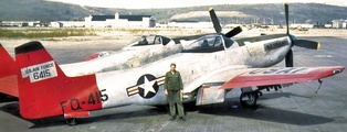 USAF operational F-82 Twin Mustang, F-82F AF Ser. No. 46-0415, on the ramp at Ladd AFB, just before going to salvage at Elmendorf AFB, May 1953.