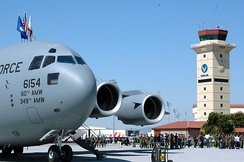 "Travis Air Force Base celebrates the arrival of its first C-17A Globemaster III, the ""Spirit of Solano during 2006."