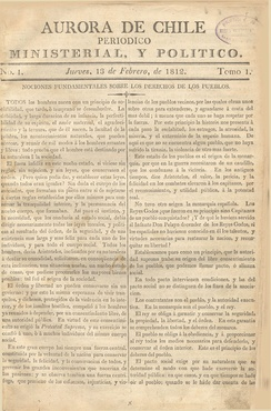 The Aurora de Chile, Chile's first newspaper, is kept at the Biblioteca Nacional.