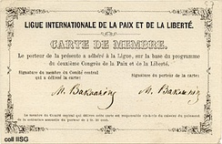 Bakunin's membership card of the League of Peace and Freedom