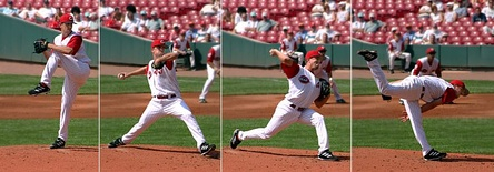 The typical motion of a pitcher.
