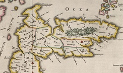 """Old Britain"" as shown on Blaeu's 1654 atlas of Scotland, based on Ptolemy."