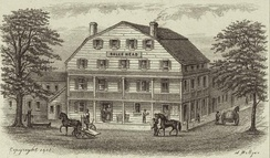 Bull's Head Hotel, depicted in 1830, was burned in the riot.