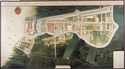 Reproduction of a map of the city of Batavia c. 1627, collection Tropenmuseum