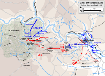 Chancellorsville, actions on May 3, 10 a.m. to 5 p.m., including the Second Battle of Fredericksburg and the Battle of Salem Church