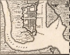 Herman Moll's 1733 Town and Harbour of Charles Town in South Carolina, showing the town's defensive walls.