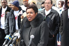 Clarke speaking at an anti-violence march in Brooklyn