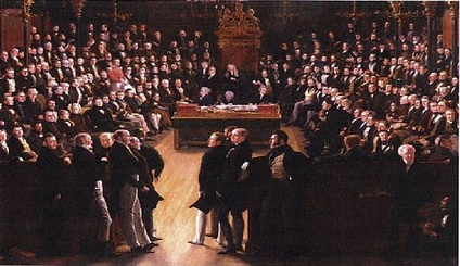 A painting by Sir George Hayter that commemorates the passing of the Reform Act of 1832. It depicts the first session of the newly reformed House of Commons on 5 February 1833 . In the foreground, the leading statesmen from the Lords: Charles Grey, 2nd Earl Grey (1764–1845), William Lamb, 2nd Viscount Melbourne (1779–1848) and the Whigs on the left; and Arthur Wellesley, 1st Duke of Wellington (1769–1852) and the Tories on the right.