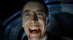 Lee as the title character in Dracula (1958). Lee fixed the image of the fanged vampire in popular culture.[80]