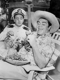 Conway and Ernest Borgnine in a photograph of McHale's Navy, 1962