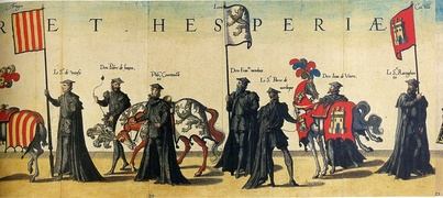 Banners with the arms of Aragon, León and Castile in the funeral at the death of Charles V. Hieronymus Cock, Funerals of Charles V, Antwerp, Cristóbal Plantino, 1559.