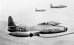 F-84G-25-RE Thunderjet serial 52-3249 of the 9th Fighter-Bomber Squadron being refueled over Korea, 1953