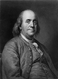 H.B.Hall engraving of Joseph-Siffred Duplessis portrait of an older Benjamin Franklin used on the $100 bill 1996 onward.