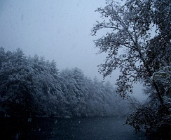 "View of the ""fly fishing and paddling"" section of the river during a snowstorm. Surrounding forests are still wild and support animal life despite the threat of suburban encroachment."