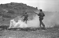 Israeli soldiers attack Sasa during Operation Hiram, October 1948.