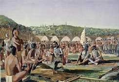 Jacques Cartier at Hochelaga. Cartier was the first European to arrive in the area, arriving in 1535.