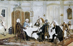 Kant with friends, including Christian Jakob Kraus, Johann Georg Hamann, Theodor Gottlieb von Hippel and Karl Gottfried Hagen