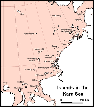 Main islands and island groups in the central and eastern regions of the Kara Sea.